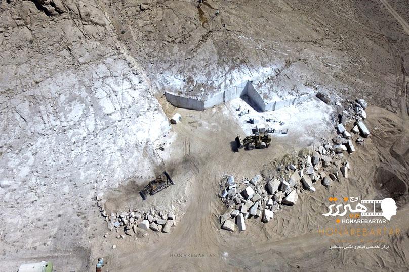 عکس هوایی از معدن سنگ واقع در محلات